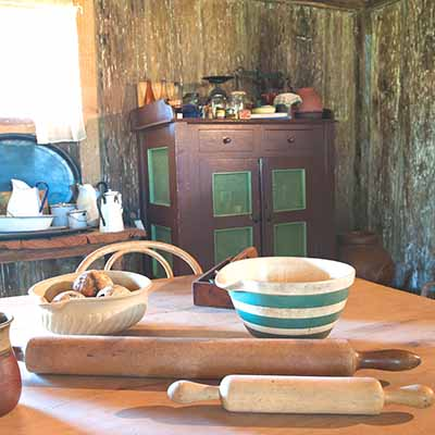 Inside the Slab Kitchen at Mont De Lancey Historic Homestead